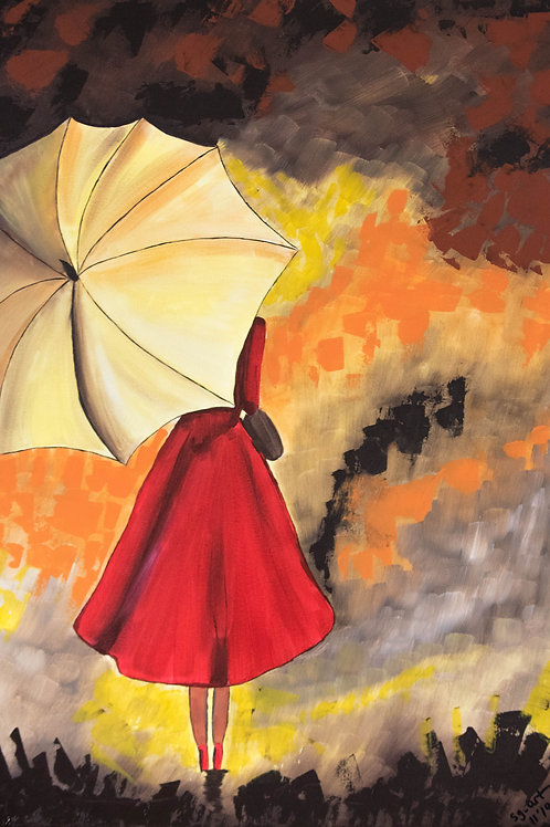 Acrylbild rotes Kleid