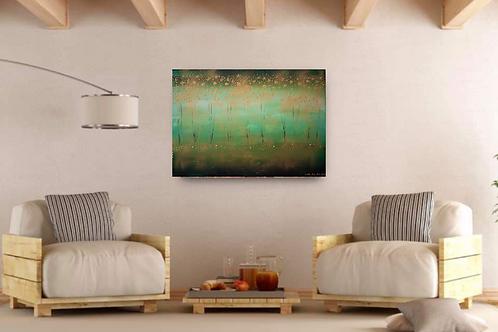 Acrylbild abstrakt grüngold Natur