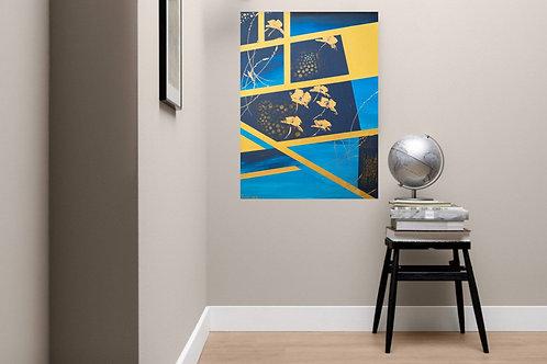 Acrylbild Mohn abstrakt blau gold
