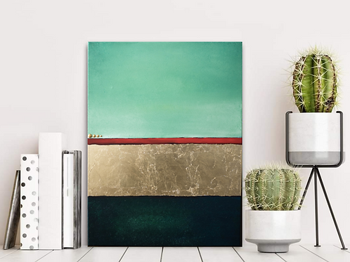 Acrylbild grün Blattgold rot abstrakt