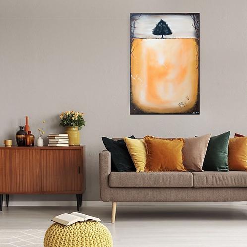 Acrylbild Baum orange, braun