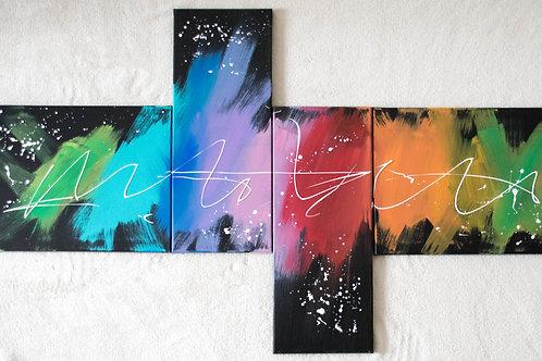 4-teiliges Acrylbild abstrakt bunt schwarz