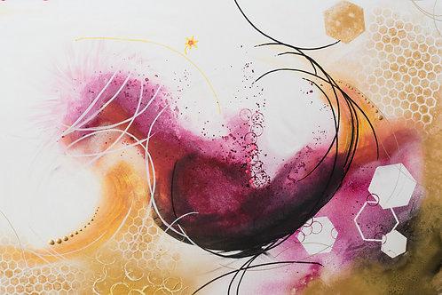 "Acrylbild abstrakt Neu ""Fokus"" Gold Magenta"