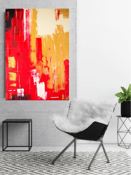 Acrylbild rot gold