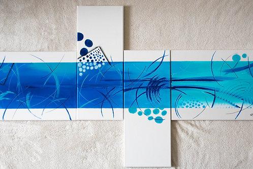 4-teiliges Acrylbild abstrakt blau