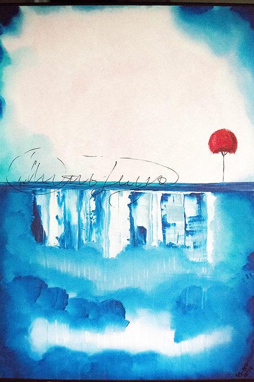 Acrylbild blaue Lagune roter Baum