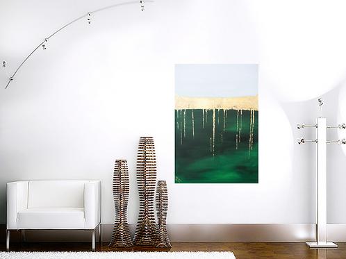 Acrylbild Blattgold/ grün abstrakt