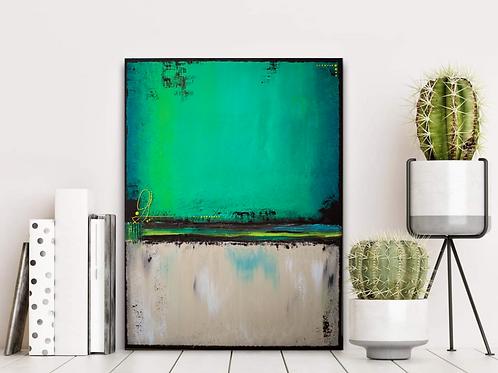 Acrylbild abstrakt grün braun beige