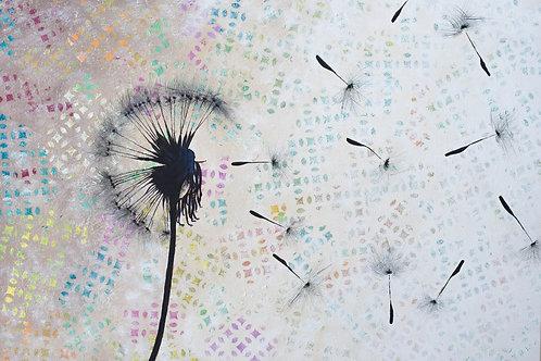 Acrylbild Natur Pusteblume bunt abstrakt Neu