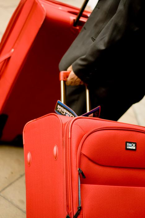 Red Hand luggage Baggage Bag Orange Suit