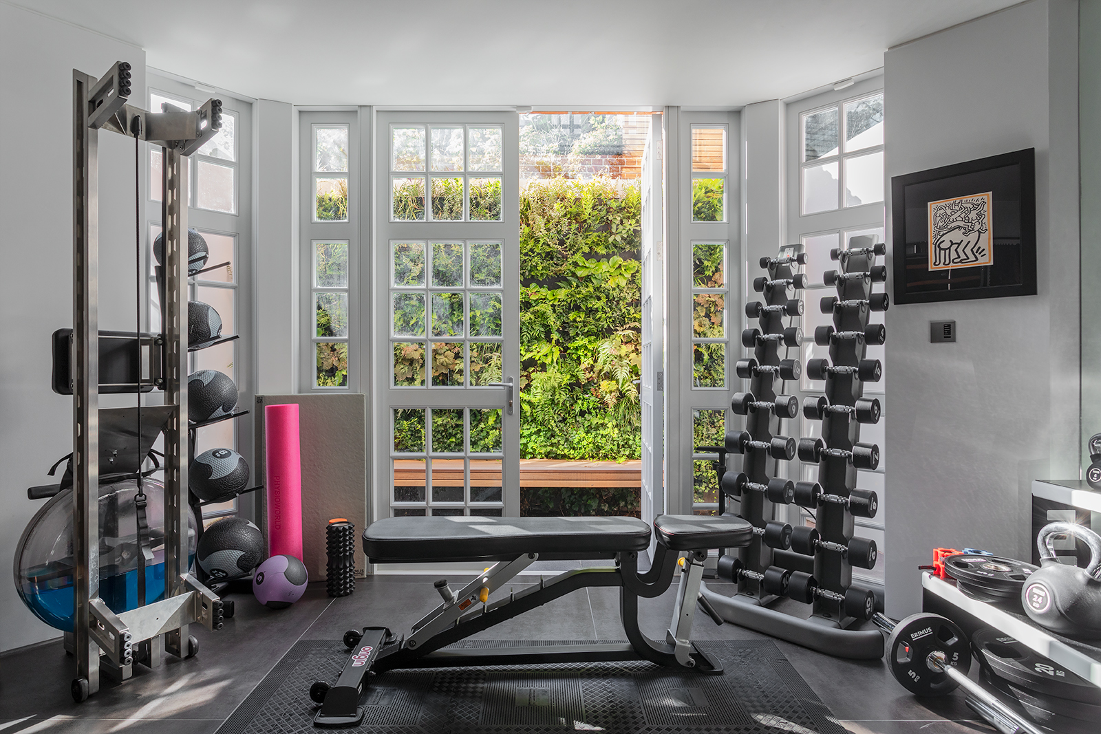 Gym and lightwell with green wall