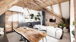 Flat 9 Living/Dining/Kitchen