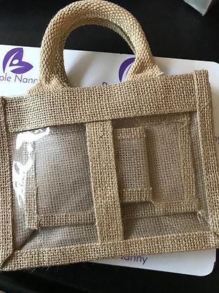 Jute bag - double window - natural