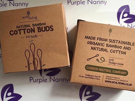 Natural Bamboo Cotton Buds 100 per box