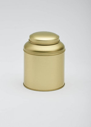Gold round domed tea caddy