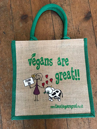 Vegans Are Great Jute Shopping Bag