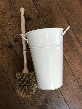 Cream plastic free toilet brush and holder set