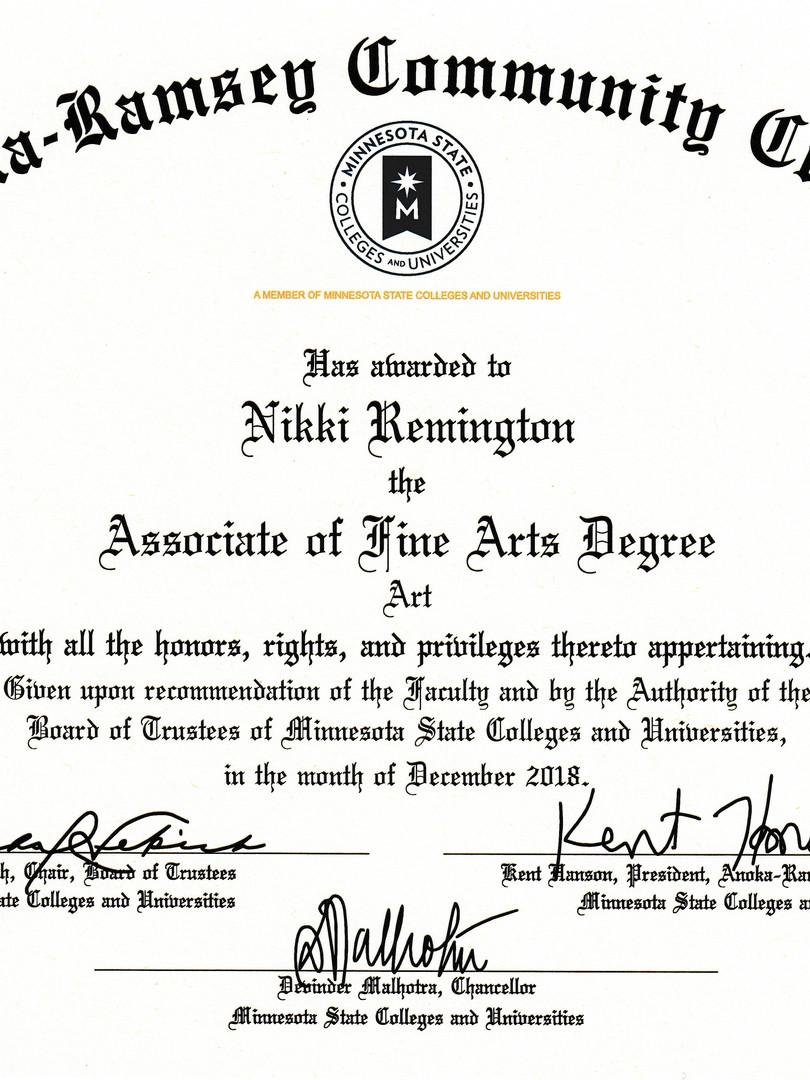 Associate of Fine Arts Degree
