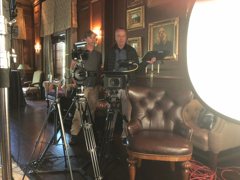 Producer Barry Morrow and Director/Producer Nathan Edwards set up a shot at Golden Ocala Golf Club