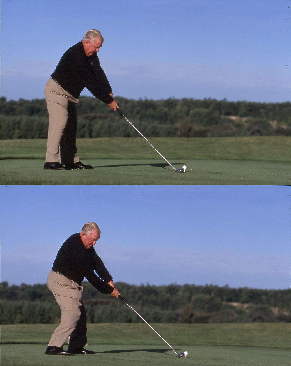 Moe Norman at address (top) and impact (bottom) of his Single Plane golf swing