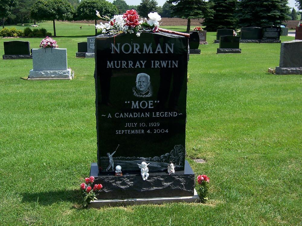 Moe Norman's memorial marker at Memory Gardens, Ontario, Canada