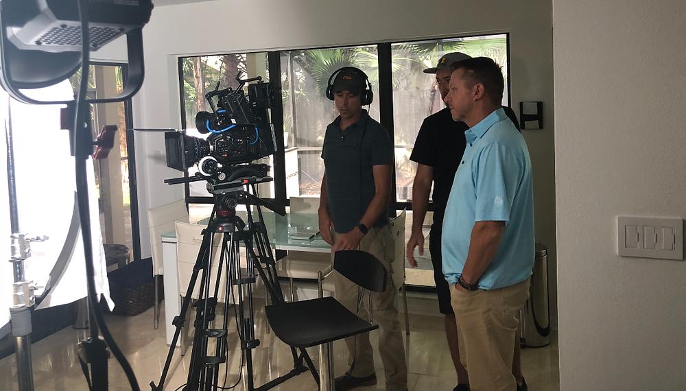 (Left to Right) Director Nathan Edwards, Director of Photography Spenser Sakurai & Executive Producer Todd Graves set up a film shoot