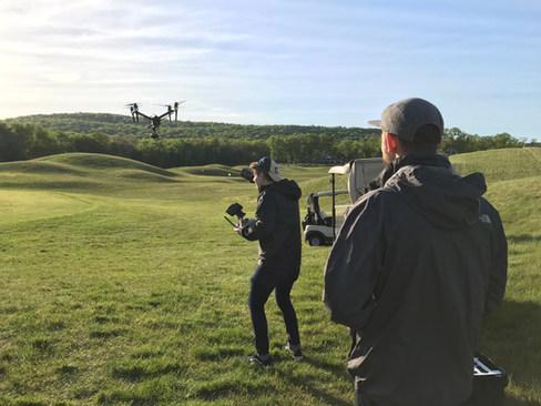 Cinematographer Spenser Sakurai captures drone footage at Fox Hopyard in East Haddam, CT