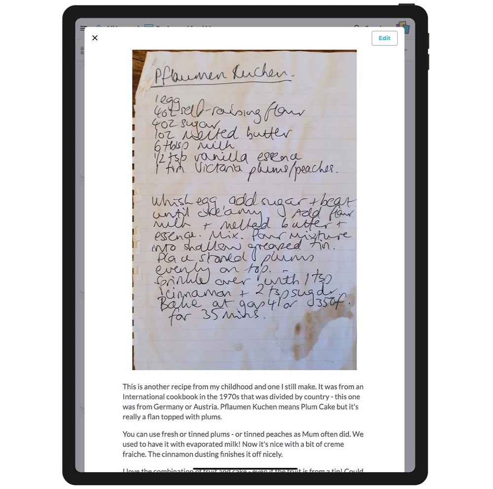 A recipe card viewed on a tablet device