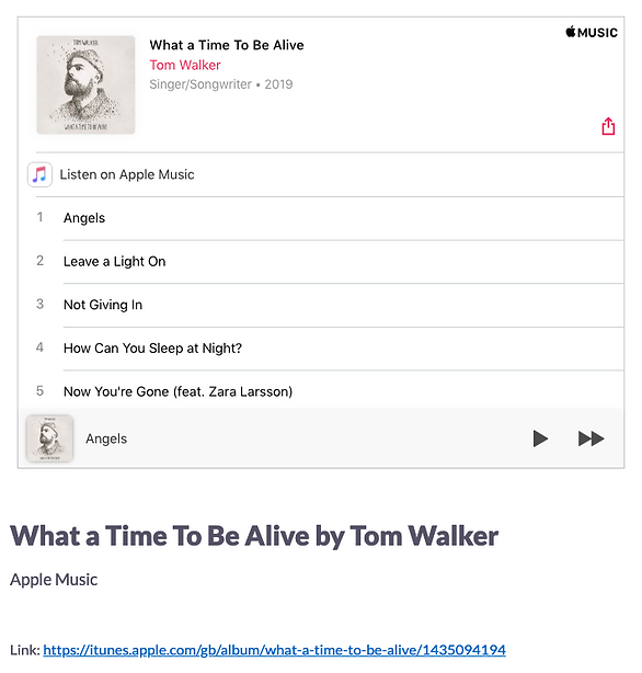Apple Music embed on back of card