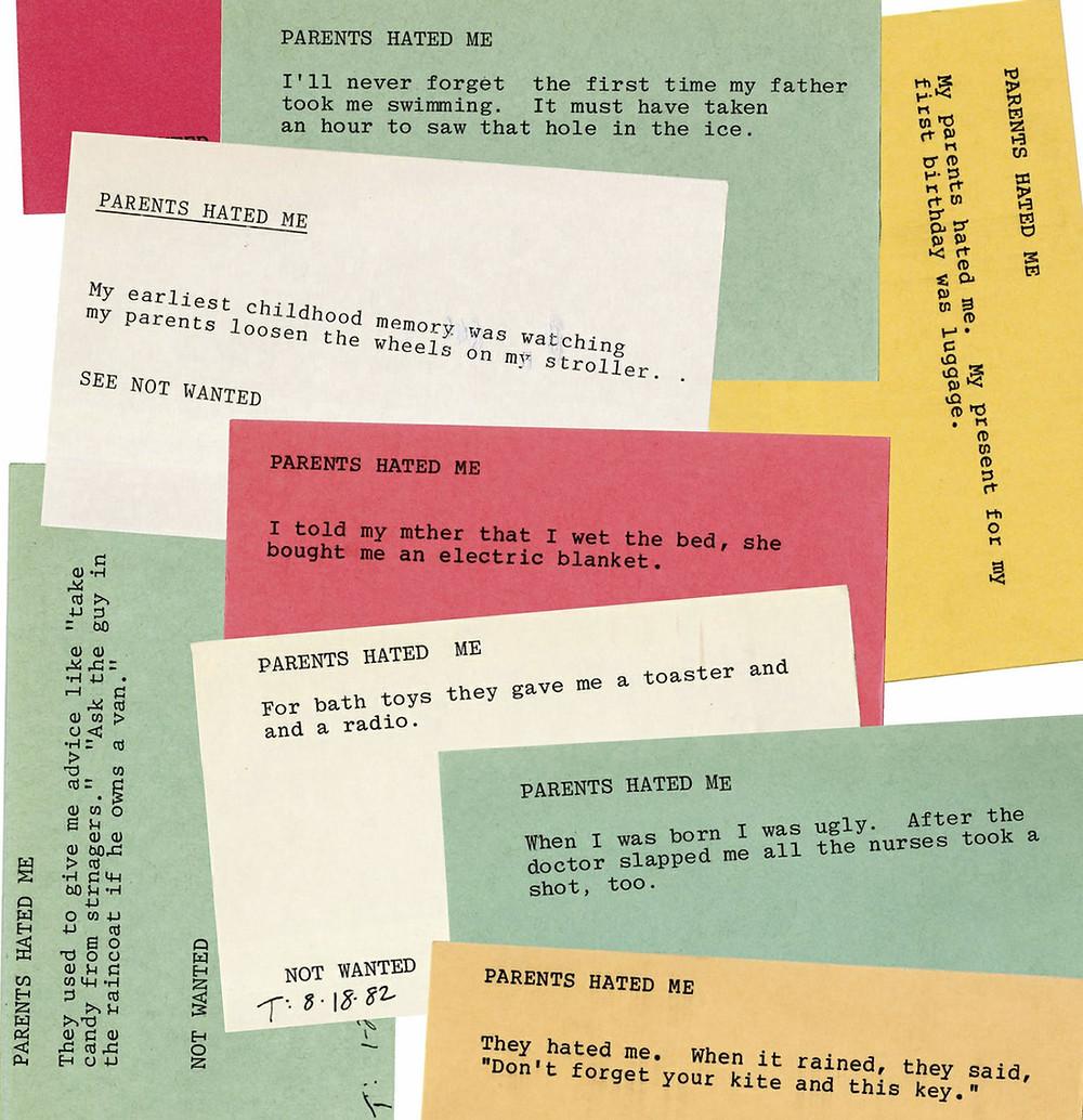 A selection of Joan Rivers' joke cards