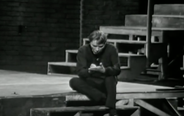Shooglebox: Richard Burton as Hamlet, making a note in his portable writing tables