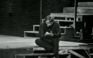 Shooglebox: Richard Burton as Hamlet, making a note in his portable writing tables
