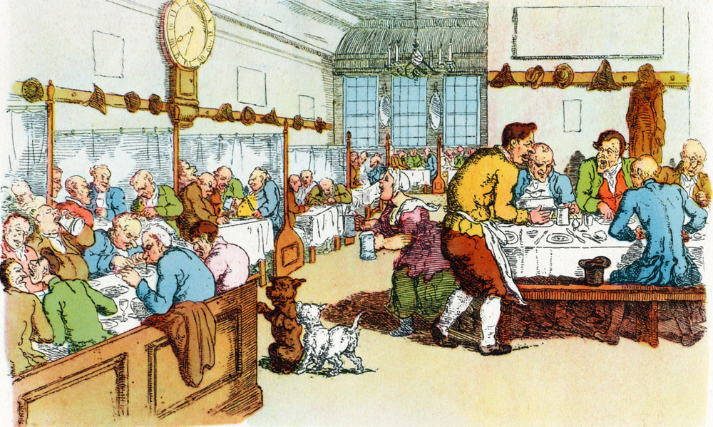 London coffee house by Thomas Rowlandson (English illustrator, 1756 - 1827)