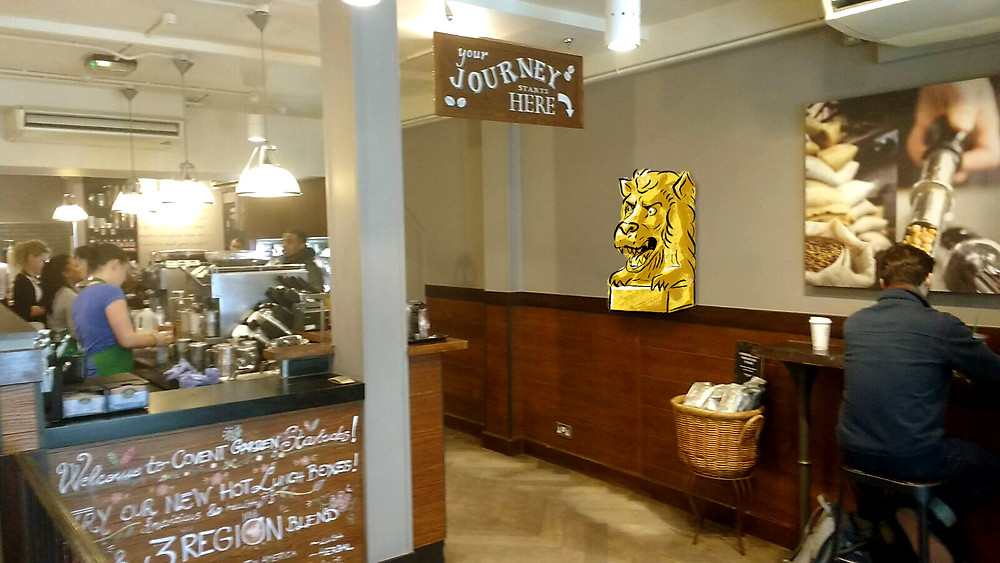 Artist's impression of the Lion's Head at Starbucks in Russell Street, Covent Garden