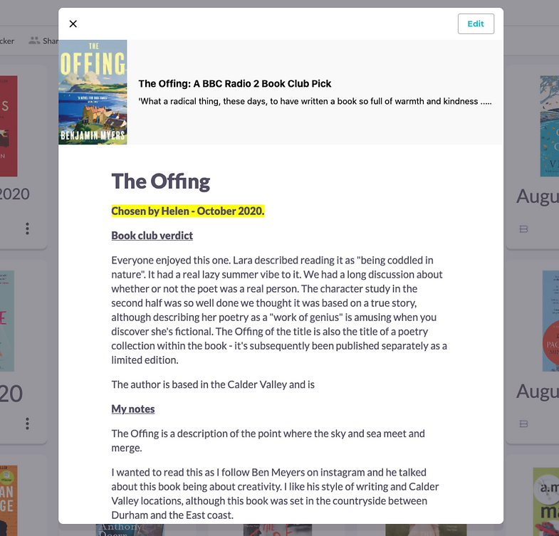 Building a virtual library for a book club