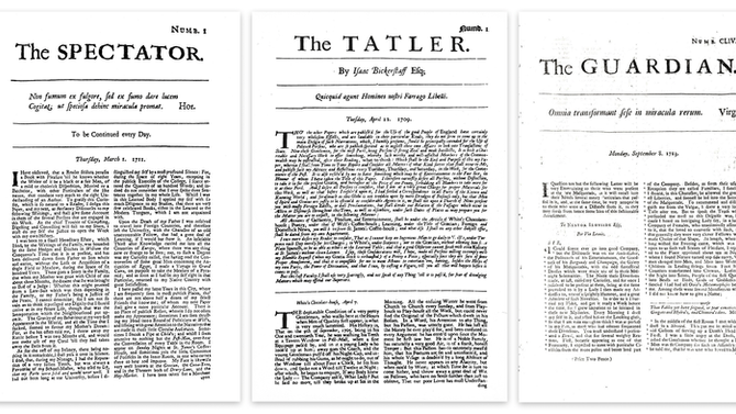 New age of journalism: The Tatler, The Spectator and The Guardian