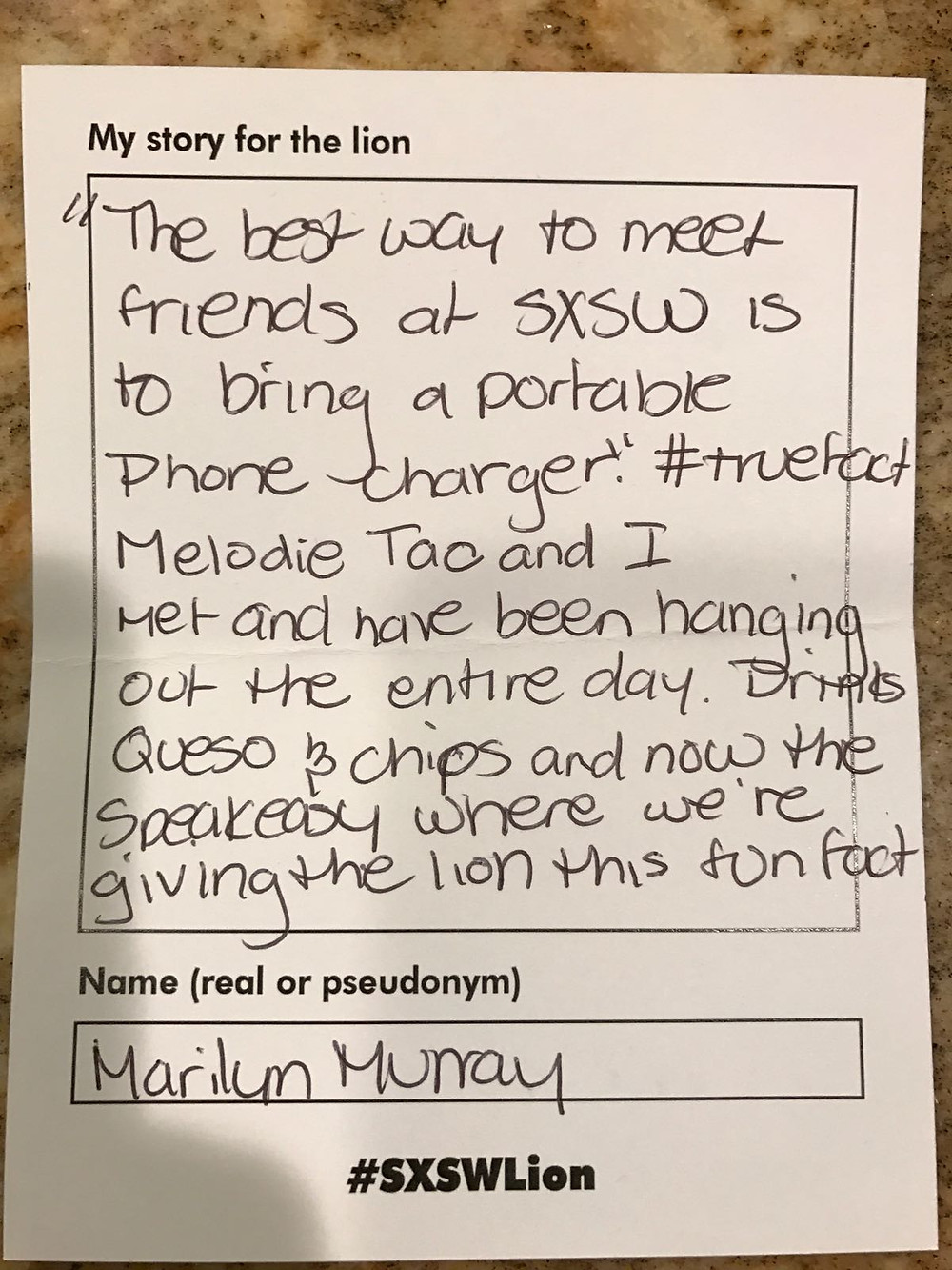 Marilyn Murray fed this story to the lion