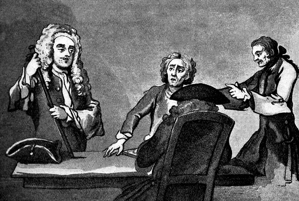 Alexander Pope and characters who frequented Button's coffee-house – by Hogarth