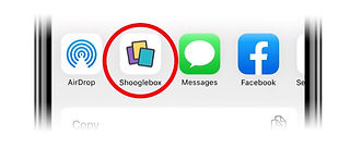 Shooglebox icon in the sharing tray