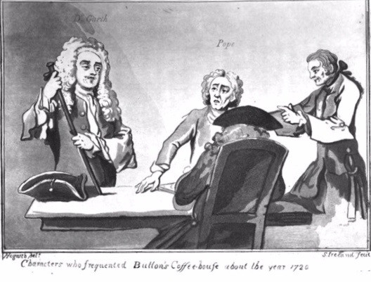 Hogarth illiustration of Alexander Pope and other characters who frequented Button's