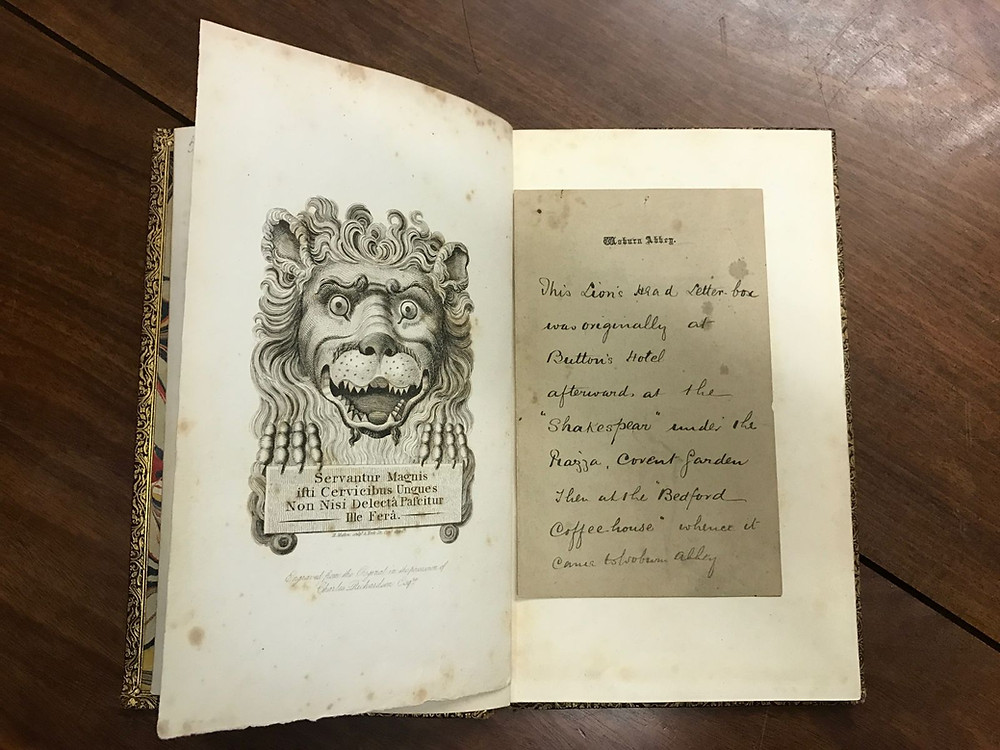 Charles Richardson's Book about the Lion's Head: Picture by permission of His Grace, The Duke of Bedford, and Trustees of The Bedford Estate