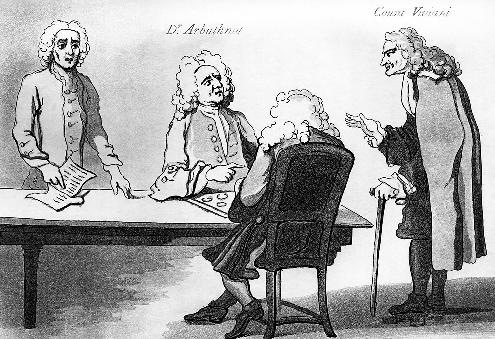Addison with characters who frequented Button's (by William Hogarth)