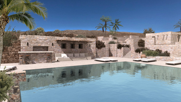 Pool addition of residence in Mykonos, 2020
