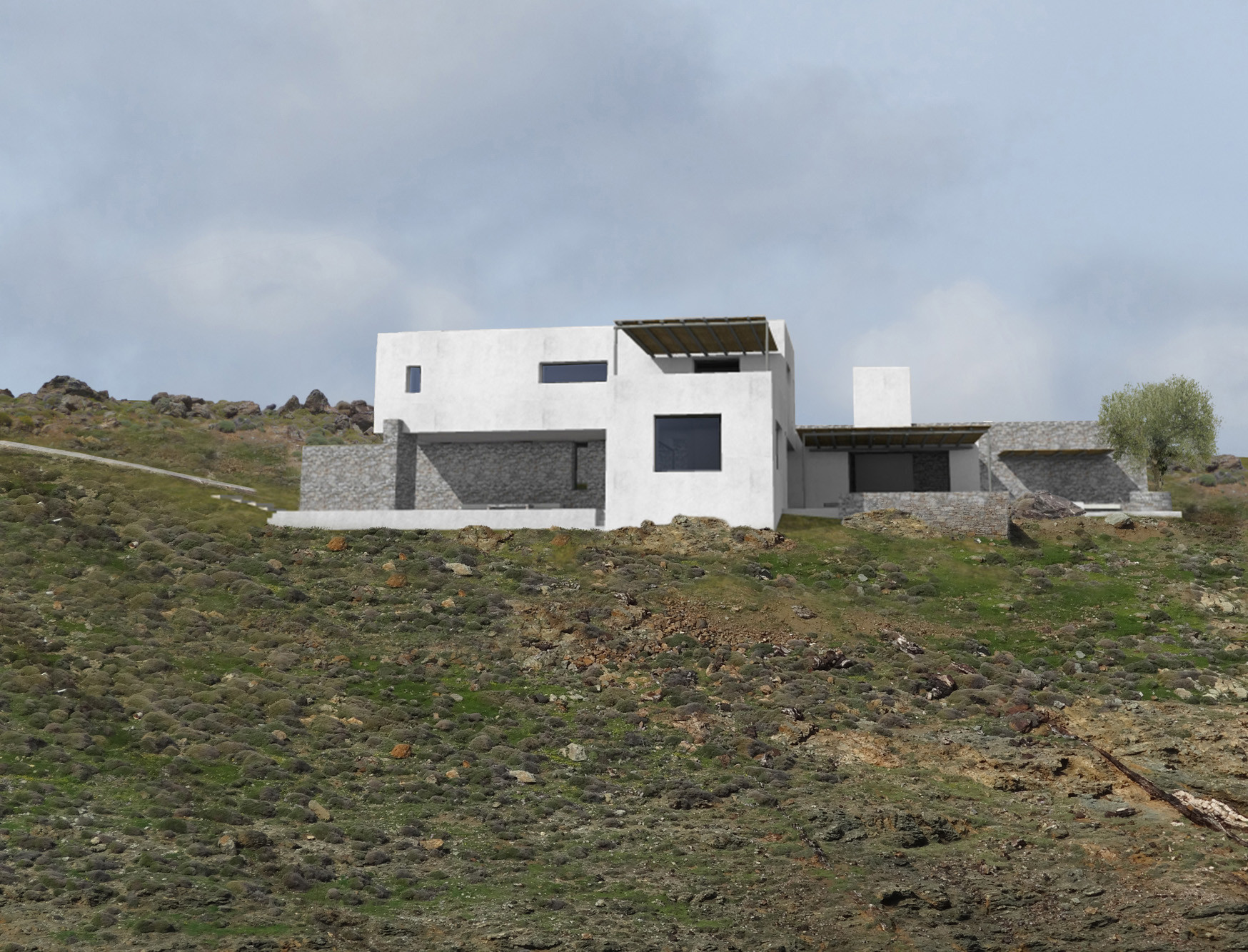 Seafront residence on hill