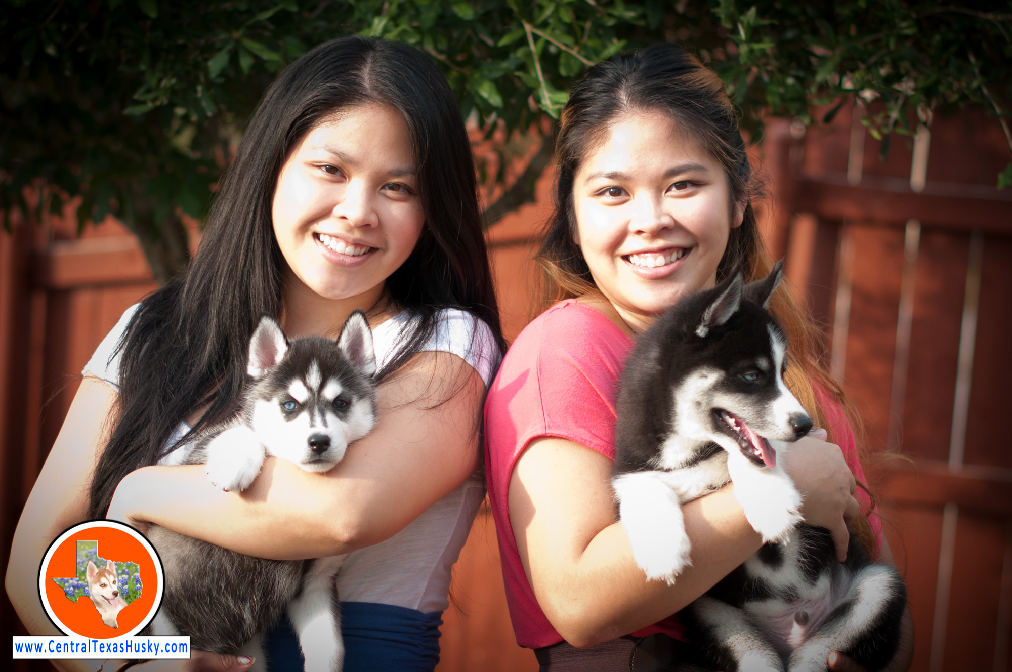 Twins with huskies