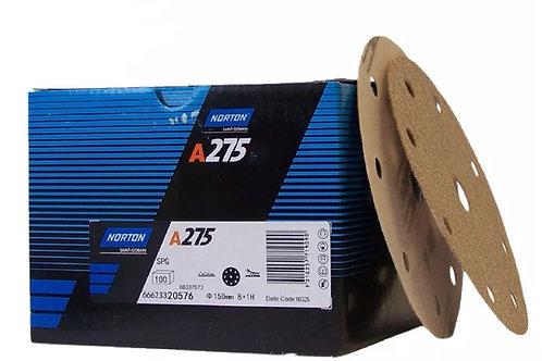 """Norton Pro A275 150mm / 6"""" Velcro H&L DA Sanding Discs 100pc per box"""