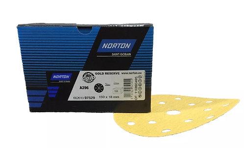 "Norton Gold Res A296 150mm / 6"" Velcro Discs 100pk"