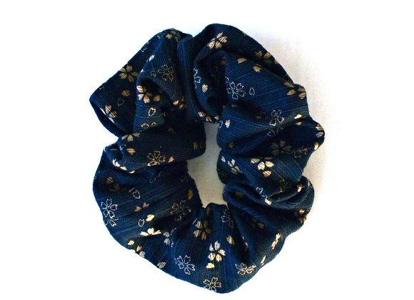 Bleu marin Fleuri Scrunchie