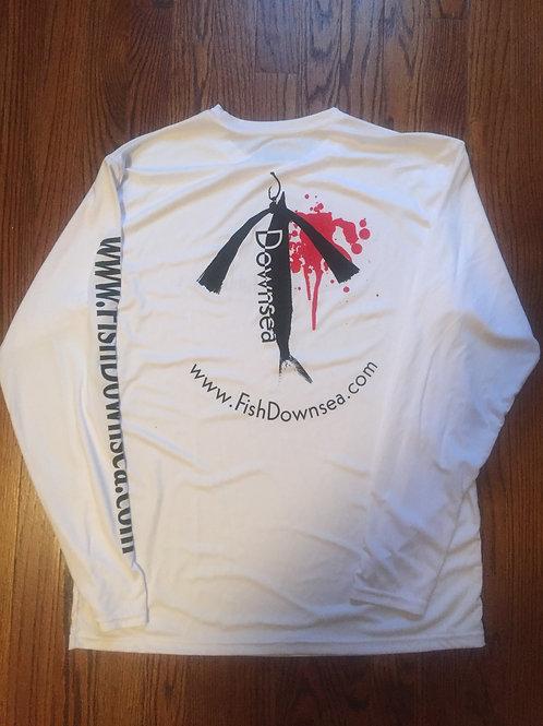 White 'Fish DownSea' L/S Performance Shirt