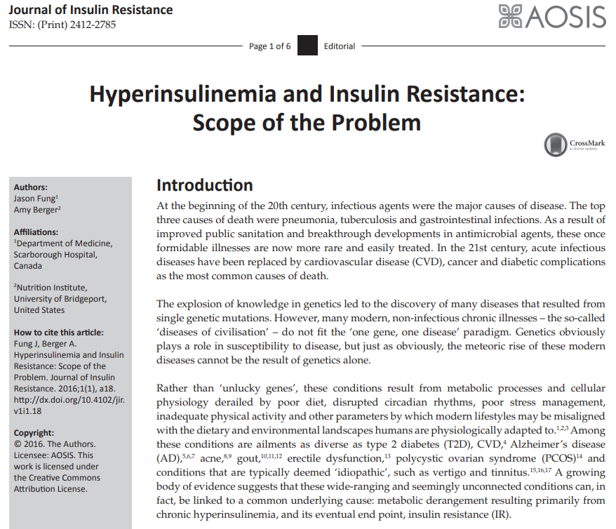 Cover page from journal article on hyperinsulinemia and insulin resistance.